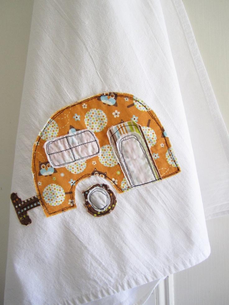 Appliqued Tea Towel With Fun Caravan Design, cute and simple idea. like the rough/unfinished appliqué