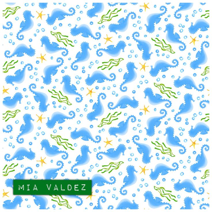 Hi! These little seahorses want to share this summer with You!☀️.By Mia Valdez #SFWeeklyDesign #seahorses #summer #ditsy  http://www.spoonflower.com/fabric/5485319-seahorses-by-mia_valdez