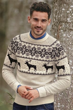 White Reindeer Crew, Snuggling up to Mr Right in this cosy jumper....