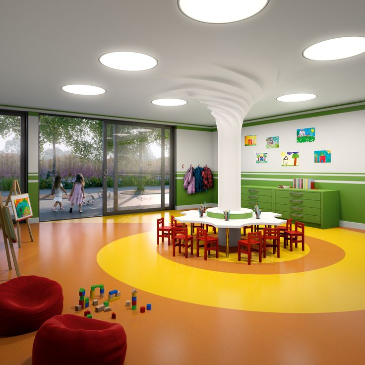 Vibrant Classroom. Stimulating and fun effect using Polyflor's Expona Flow - shades 9849 Flaxen & 9848 Burnt Orange