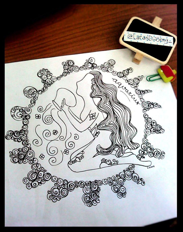 Aquarius illustration - Zodiac Illustration by laras ajeng
