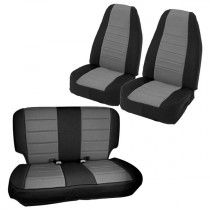 Smittybilt Neoprene Seat Covers, Front & Rear Set - Black with Charcoal