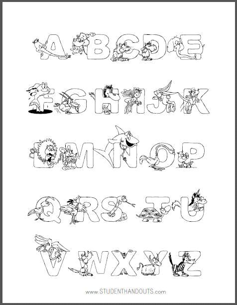 Animal Alphabet Coloring Sheet