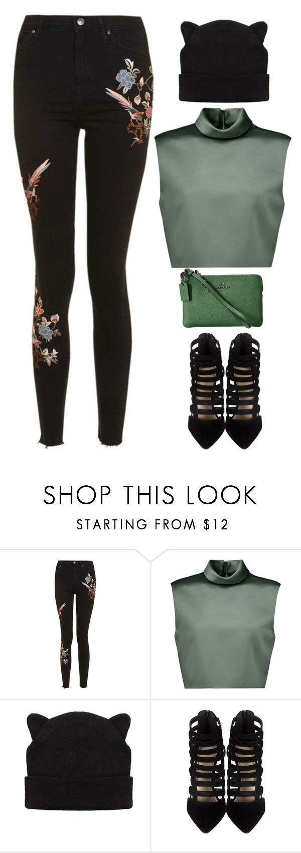"""""""Topshop look"""" by imperiouspuma ❤ liked on Polyvore featuring Topshop, TIBI and Coach"""