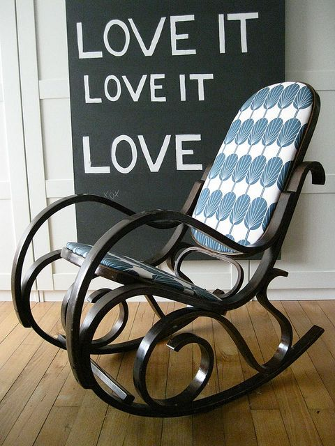 Salvaged rocking chair, freshly upholstered in NinaRibena's own Fanpods fabric design  www.spoonflower.com/fabric/490600