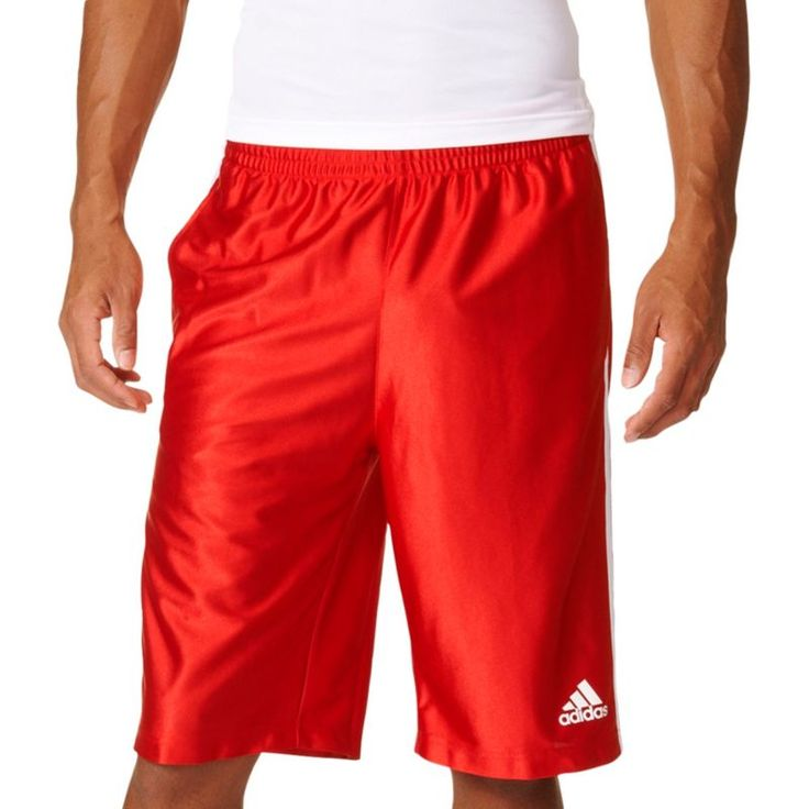 adidas Men's 3 Stripes Basic Basketball Shorts, Size: Medium, Red