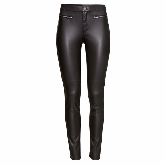 HOST PICK Black biker pants size 8 NWT divided black biker pants. Imitation leather skinny pants. Has 2 zippers on front H&M Pants Skinny