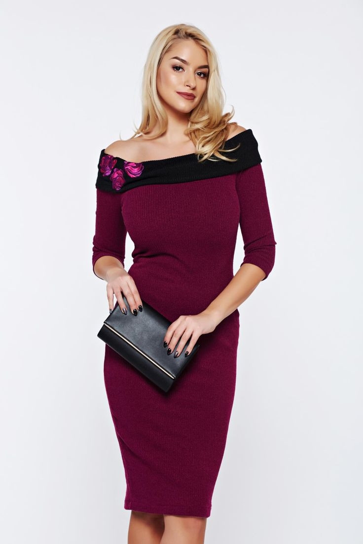 StarShinerS timeless romance occasional purple pencil off shoulder dress, tented cut, 3/4 sleeves, on the shoulders, Timeless Romance