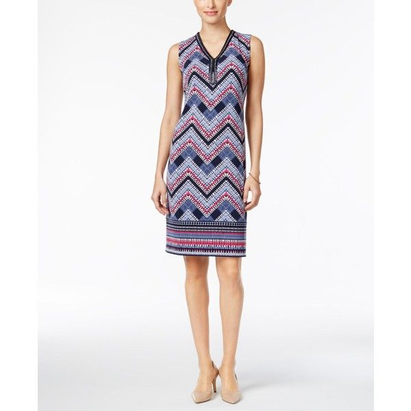 Jm Collection Beaded-Neck Chevron-Print Dress, ($45) ❤ liked on Polyvore featuring dresses, blue match chevron, blue chevron dress, chevron dresses, white day dress, beaded dress and white blue dress