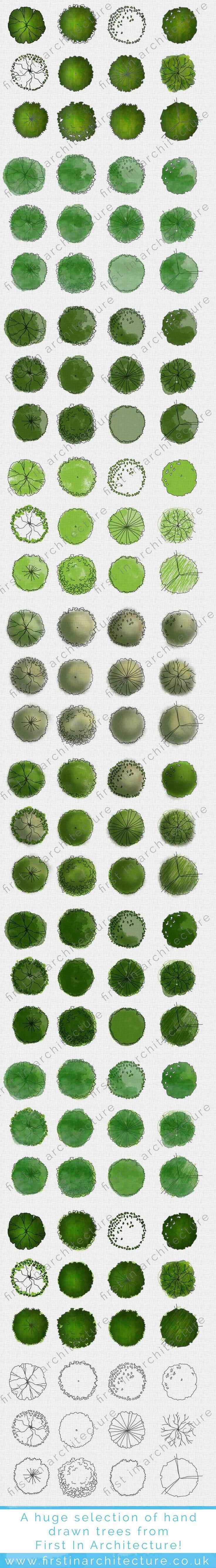 Hand drawn Trees | Árvores desenhadas a mão | Planta Baixa | Hidrocor | Arquitetu [doodles galore. jh]