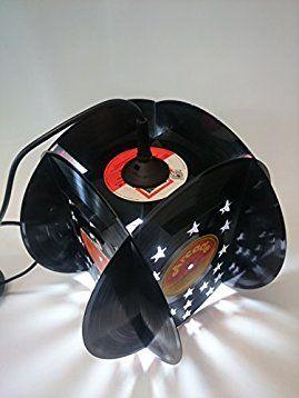 Deckenlampe Lampenschirm Pendelleuchte mit Sternen hergestellt aus 4 original Vinyl Schallplatte