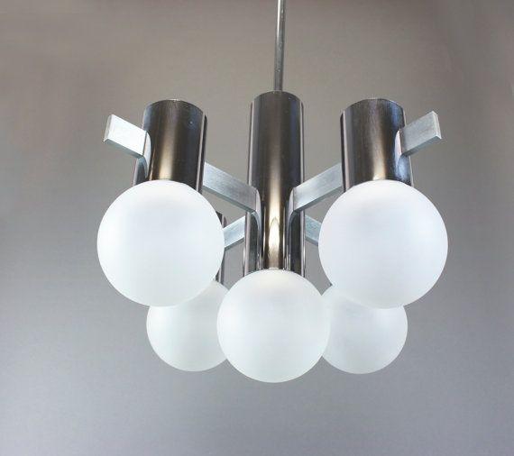 Mediados siglo Sputnik lámpara Vintage cromada araña - Sciolari diseño - Italia de 1960