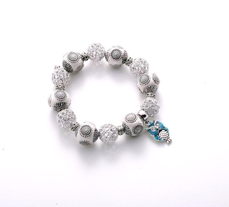 WH-blue owl bracelet / beads, pandant bracelet by ELINZIjewelry on Etsy