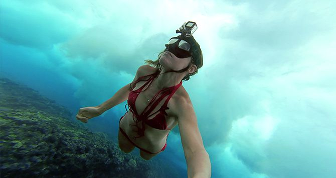 Black people scuba diving nude