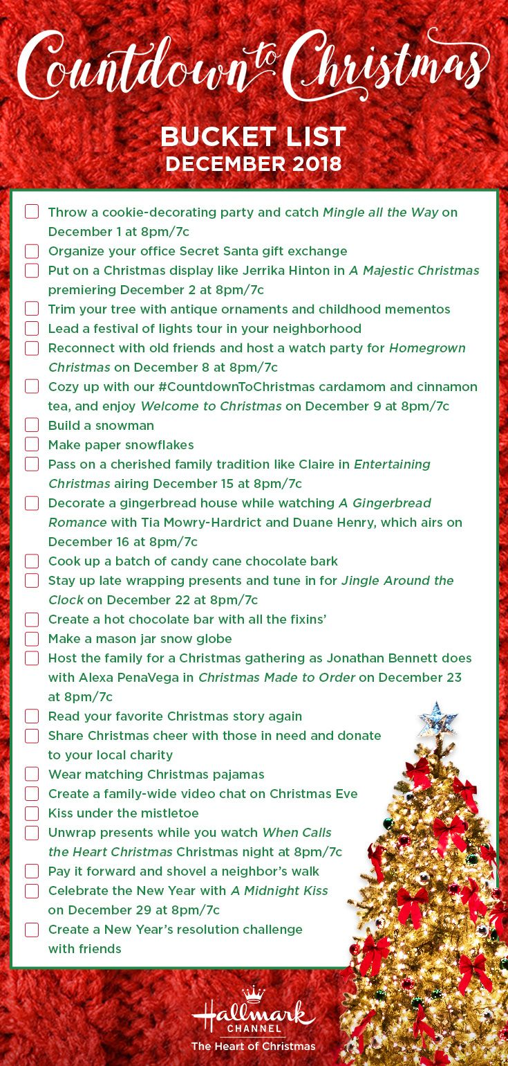 The Hallmark Channel Countdown To Christmas Bucket List Will Give You Even More Ideas On How To Get The Most Out Christmas Countdown Christmas Christmas Bucket