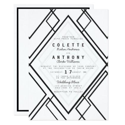 Modern black white geometrical simple Wedding Card - simple clear clean design style unique diy