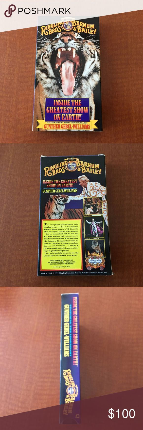 Ringling Brothers Barnum & Bailey - VHS TAPE NICE! Ringling Brothers Barnum & Bailey - INSIDE THE GREATEST SHOW ON EARTH - VHS TAPE FEATURING LEGENDARY ANIMAL TRAINER GUNTHER GEBEL-WILLIAMS  BEHIND THE SCENES LOOK AT THE GREATEST SHOW ON EARTH - VISIT WITH THE GREATEST ANIMAL TRAINER, CLOWNS, ACROBATS, DANCERS ETC!!!  *** CIRCUS CLOSED MAY 21, 2017 FOREVER!!!  PRICE REFLECTS  CLOSURE OF THE 146 YEAR OLD CIRCUS!!! ***  GOT THIS AT CIRCUS - WATCHED 1X.    COLLECTORS ITEM - WILL INCREASE IN…