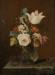 Date ubknown - Aelst, Evert Van - A Still Life Study Of Flowers In A Glass Vase On A Stone Ledge Beside A Cricket And Grapes