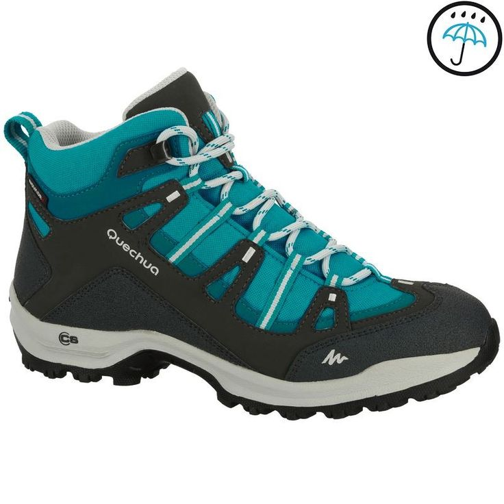 Hiking shoes Hiking - Arpenaz 100 Mid Women's Waterproof Walking Boots - Blue Quechua - Hiking Footwear and Accessories