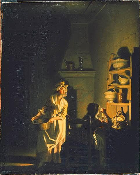 """Testing Eggs. Interior of a Kitchen"", mid-to-late 18th C., by Pehr Hilleström (Swedish, 1732-1816)."