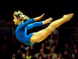 Olga Valentinovna Korbut (b. May 16, 1955 in Hrodna), also known as the Sparrow from Minsk, is a Belarusian, Soviet-born gymnast who won four gold medals and two silver medals at the Summer Olympics, in which she competed in 1972 and 1976 for the USSR team. In 1991, she emigrated to the United States and now lives in Scottsdale, Arizona.