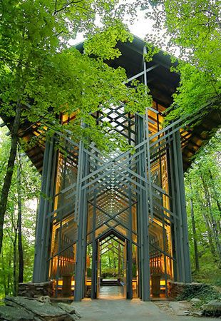 More than 6,000 square feet of glass was used to create Thorncrown Chapel in the Ozark Mountains near Eureka Springs. Designed by architect E. Fay Jones, the chapel was the inspiration of a retired schoolteacher who wanted to create a place for visitors to the region to worship. The result, which stands 48 feet tall in a peaceful grove along a wooded path, has won multiple design awards and has brought 5 million visitors to the Ozarks since it was completed in 1980.