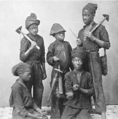 During the Industrial Revolution, children of Britain usually between ages four and eight were trained to sweep chimneys. Parents would sell boys to work in chimneys. Very little girls were employed to work. The smaller the child, the higher the price they could be sold for. This job was full of risk and the conditions were filthy. The children would develop sores and bruises on their knees and elbows from working in the chimneys. Public buildings and big mansions were the most dangerous.