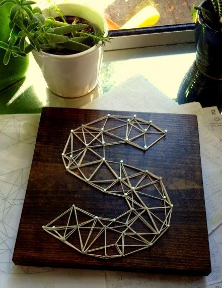 Faceted Monogram  Modern String Art Tablet by NineRed on Etsy, $25.00
