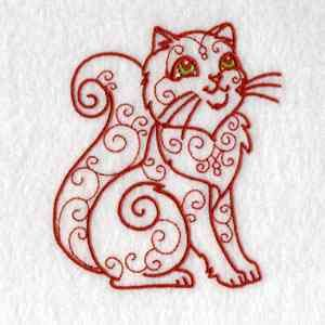 This free embroidery design is a swirly cat.  Grab it today!