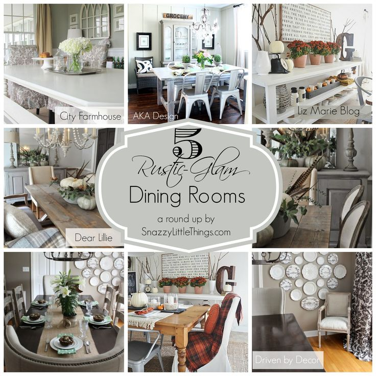 A round up of 5 rustic glam dining rooms. My favorite dining rooms with a rustic-glam farmhouse feel, from some of my favorite bloggers. Stop by to be inspired!