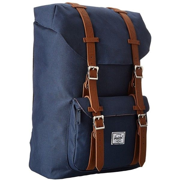 Herschel Supply Co. Little America Mid-Volume (Navy) Backpack Bags ($100) ❤ liked on Polyvore featuring bags, backpacks, navy, padded laptop backpack, pocket backpack, laptop bags, navy backpack and shoulder strap backpack