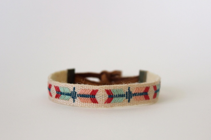 embroidered linen bracelet. via etsy.