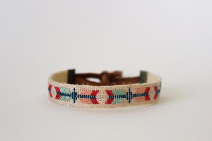 embroidered linen bracelet. via etsy.