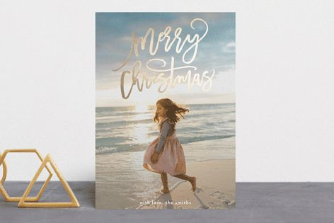 """merry christmas swirls"" - Foil-pressed Holiday Cards in Gold by Phrosne Ras."