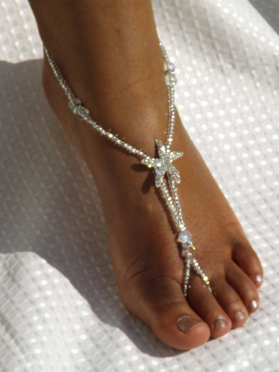 Beach Weding Barefoot Sandal Starfish Foot Jewelry Wedding Jewelry Starfish Barefoot Sandle Anklet on Etsy, $34.00