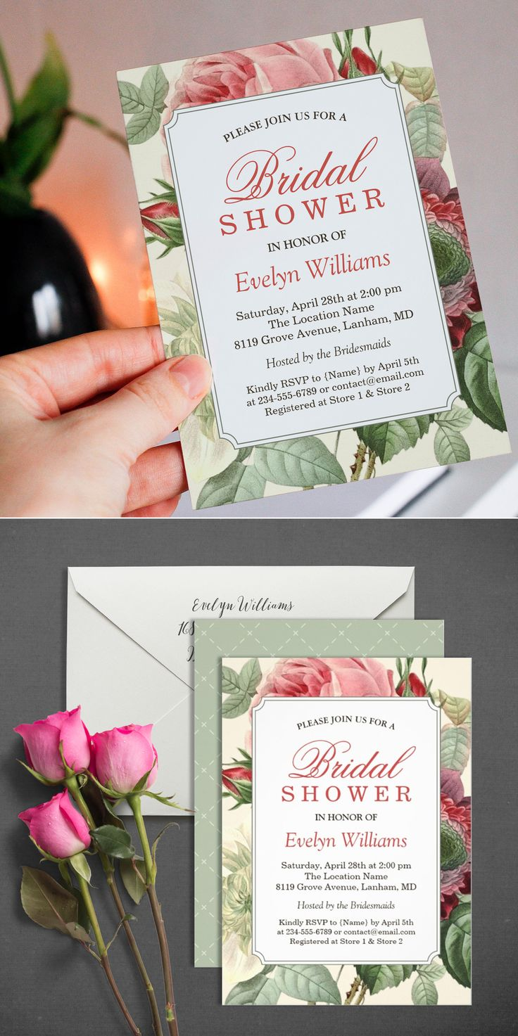 recipe themed bridal shower invitation wording%0A Vintage Botanical Floral Bridal Shower Invitation