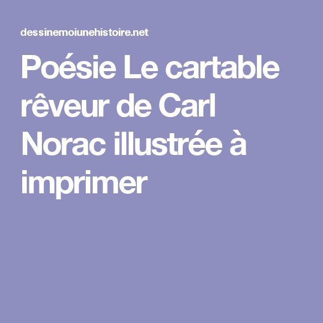 Poésie Le cartable rêveur de Carl Norac illustrée à imprimer