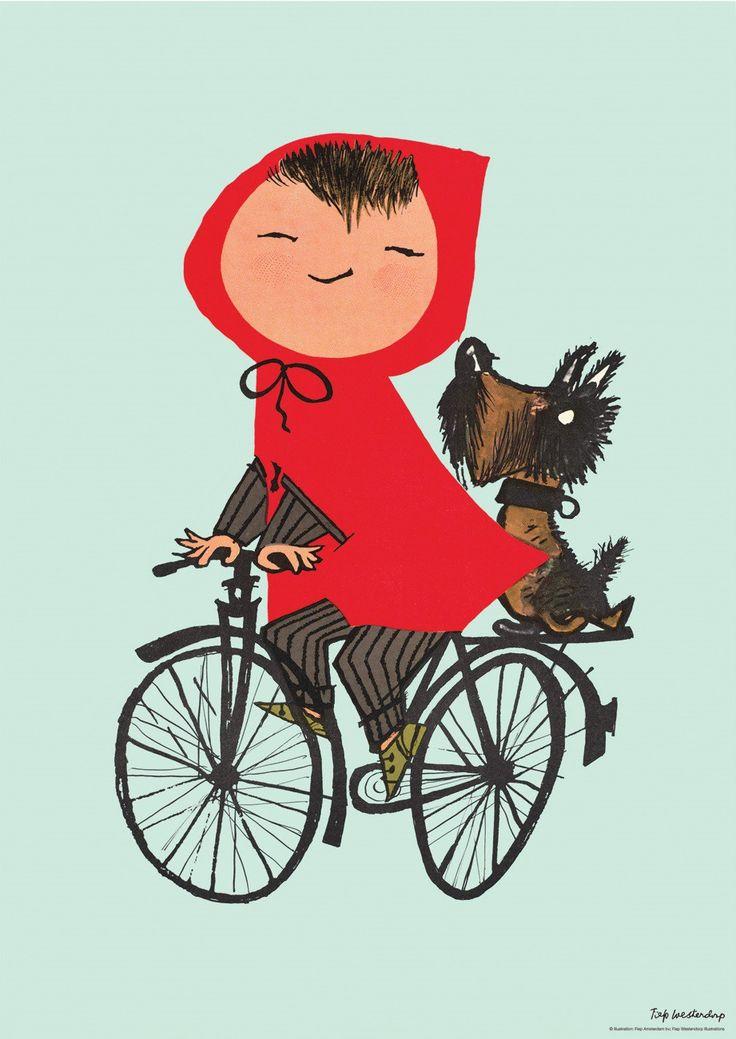 Poster Op de fiets mint Fiep Westendorp 42 x 59.4 cm