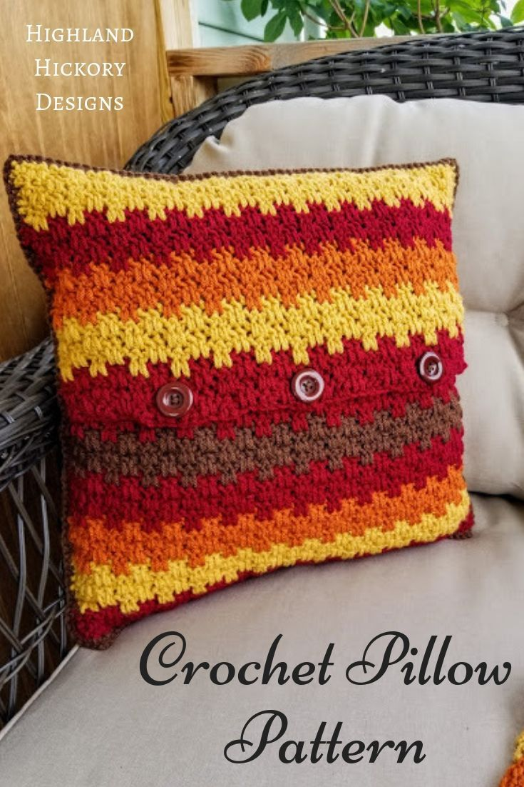Fall Foliage Pillow Highland Hickory Designs Free Crochet Pattern Crochet Pillow Cover Crochet Cushion Cover Crochet Pillow Pattern