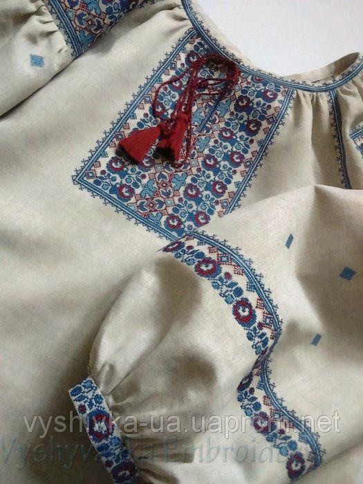 Вишиванка жіноча з натурального льону вишита дрібним хрестиком.  продажа 073b332e31184
