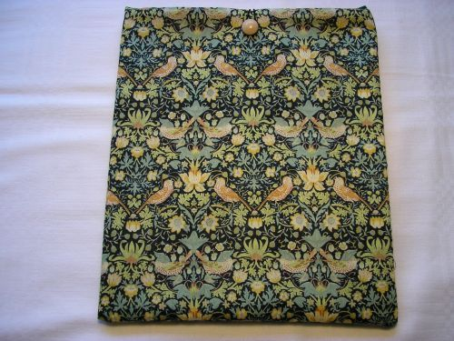 "i-Pad cover in Liberty Tana Lawn ""Strawberry Thief"" Green."