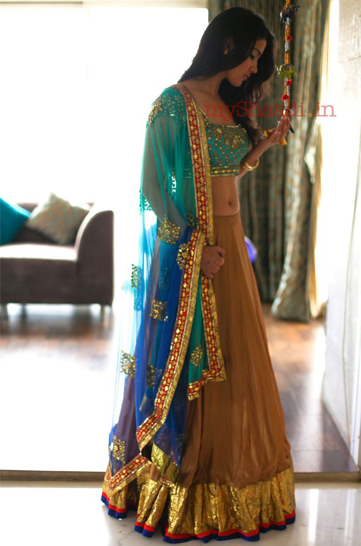 GORGEOUS Lehenga  by Arpita Mehta http://arpitamehta.in/ - https://www.facebook.com/pages/Arpita-Mehta/482620718455205 blue turquoise gold orange
