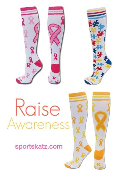 These three socks do more than support your feet! They help turn eyes and raise awareness for breast cancer, childhood cancer and autism! Available now: www.sportskatz.com