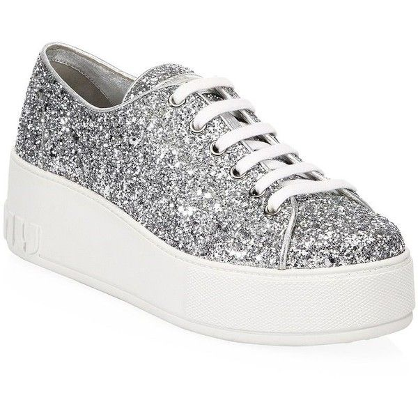 Miu Miu Glitter Platform Sneakers (4