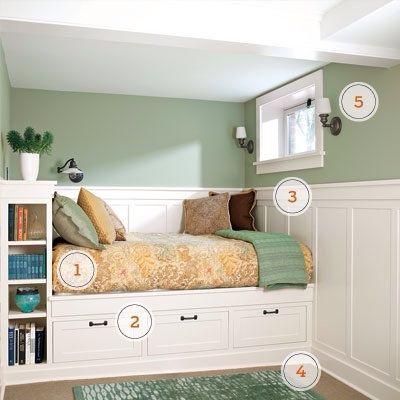 Storage bed for small kids bedroom.  feel snug, not suffocating. 1. Build a spot for the bed.  Instead of aligning the full-size bed with the room's long axis, it was turned 90 degrees and tucked below the window for a perfect fit.  2. Keep storage compact. The  bookshelf doubles as a headboard and nightstand; deep drawers hold clothing or other items.