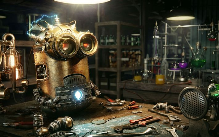 Download wallpapers Kevin, robot, minion, Despicable Me, steampunk, 2017 movies, minions