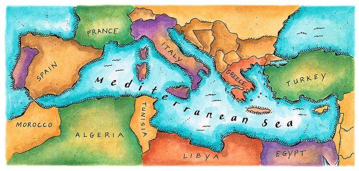 Map Of Mediterranean Sea Digital Art  - Map Of Mediterranean Sea Fine Art Print