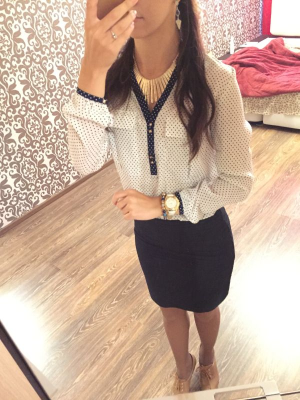 Polka Dot Blouse - ZARA / Navy Pencil Skirt - Mango / Watch - Coach / Nude Ankle Boots - Hot Wind