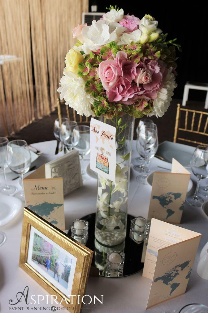 Aranjament de masa pentru nunta cu tematica travel Meniuri in tematica travel Aspiration Events