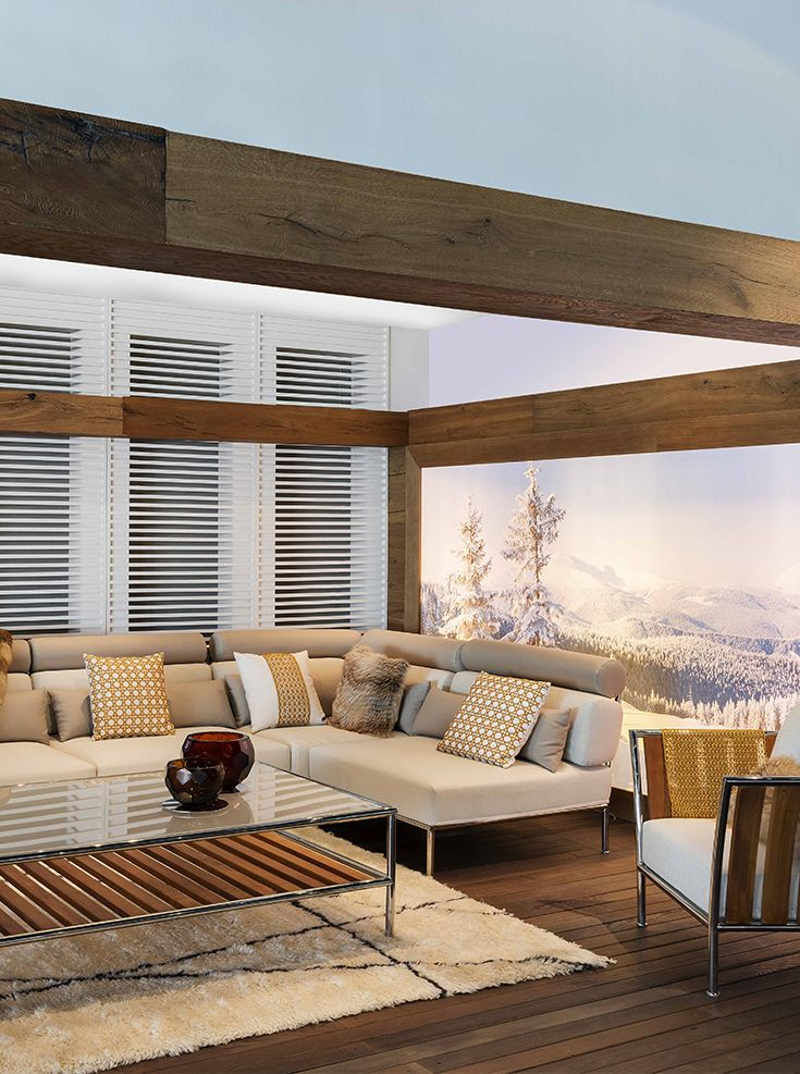 Winter Chalet With Fendi Outdoor Capri Teak Lounge Chair Sectional Sofa And Coffee Table Is The Best To Have A Nice Cup Of Hot Tea In Your Balco